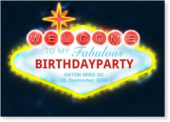 Einladungskarten Geburtstag, Partysign Las Vegas