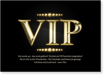 Einladungskarten Geburtstag, Goldener VIP