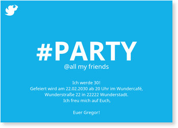 Einladungskarten Geburtstag, Hashtag Party