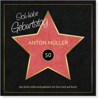 Einladungskarten Geburtstag, Hollywood-Star