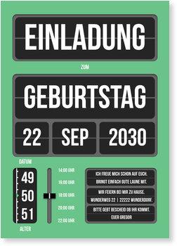 Einladungskarten Geburtstag, Klappanzeige in Grün