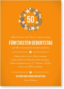 Einladungskarten Geburtstag, Kleiner Blumenkranz in Orange
