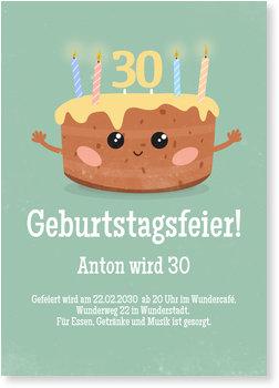 Einladungskarten Geburtstag, Kuchen