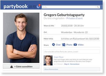 Einladungskarten Geburtstag, Partybook