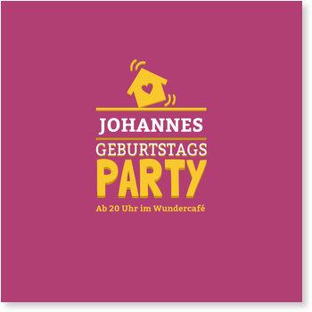 Einladungskarten Geburtstag, Partyhouse in Rot