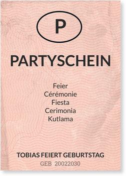 Einladungskarten Geburtstag, Partyschein