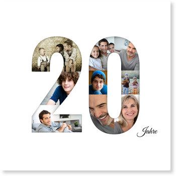 Einladungskarten Geburtstag, Quadratisch - Bildreiche Zwanzig
