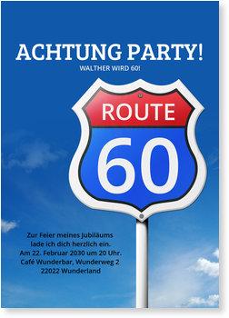 Einladungskarten Geburtstag, Route 60