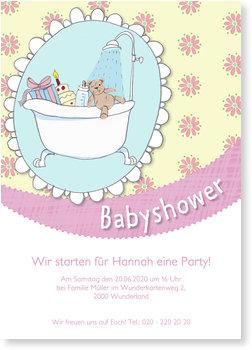 Einladungskarten Babyparty, Geschenkdusche - Rosa
