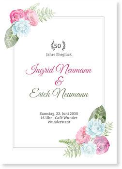 Einladungskarten Goldene Hochzeit, Blüten