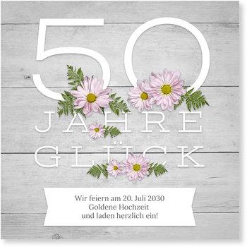 Einladungskarten Goldene Hochzeit, Blumen auf Holz