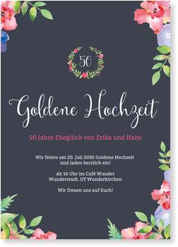 Einladungskarten Goldene Hochzeit, Blumenrahmen