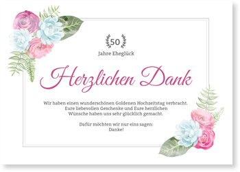 Danksagungskarten Goldene Hochzeit, Blüten