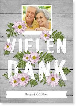 Danksagungskarten Goldene Hochzeit, Blumen auf Holz