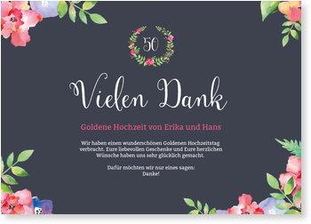 Danksagungskarten Goldene Hochzeit, Blumenrahmen