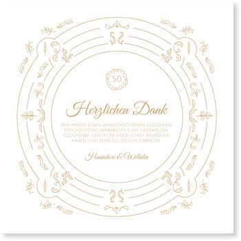 Danksagungskarten Goldene Hochzeit, Edel