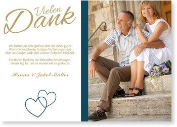 Danksagungskarten Goldene Hochzeit, Liebende Herzen