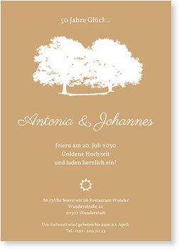 Einladungskarten Goldene Hochzeit, Zwei Eichen in Beige