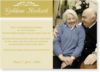 Einladungskarten Goldene Hochzeit, 50 Jahre Glücklich