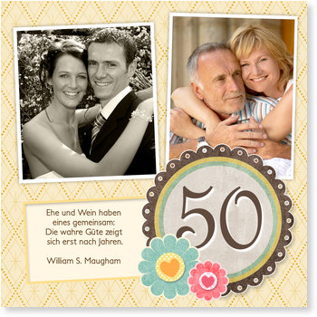 Einladungskarten Goldene Hochzeit, Goldenes Glück