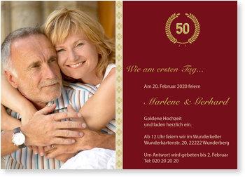 Einladungskarten Goldene Hochzeit, Der goldene Lorbeerkranz