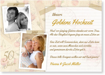 Einladungskarten Goldene Hochzeit, Scrapbook