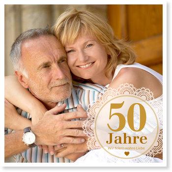 Einladungskarten Goldene Hochzeit, Treue Liebe