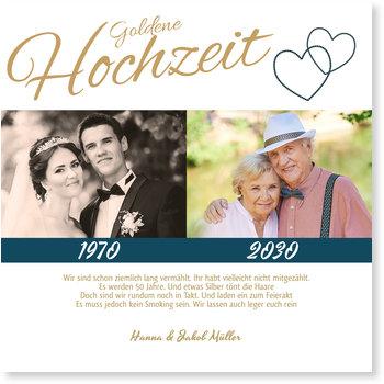 Einladungskarten Goldene Hochzeit, Liebende Herzen