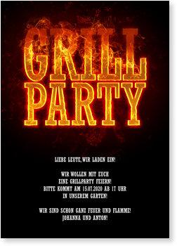 Einladungskarten Party, Feurige Grillparty