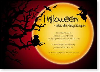 Einladungskarten Halloween , Großer Mond