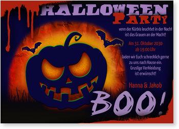 Einladungskarten Halloween , Gruseliger Kürbis