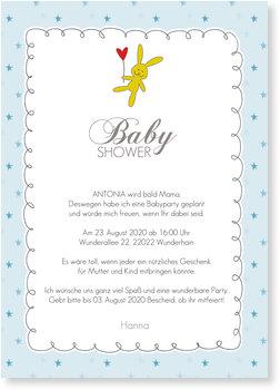 Einladungskarten Babyparty, Babyshower Häschen - Blau