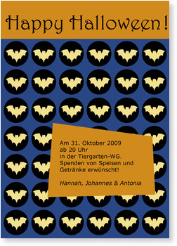 Einladungskarten Halloween , Fledermaus-Konfetti