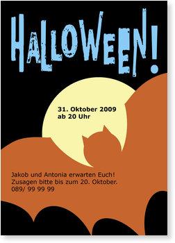 Einladungskarten Halloween , Nacht der Fledermaus