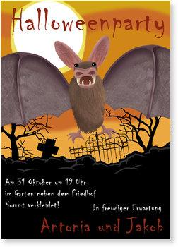 Einladungskarten Halloween , Halloween  - Fledermaus