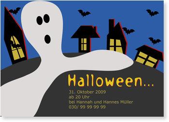 Einladungskarten Halloween , Geisterstadt