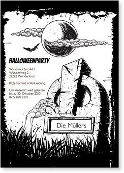 Einladungskarten Halloween , Halloween Grabstein