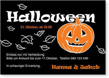 Einladungskarten Halloween , Halloweenkürbis