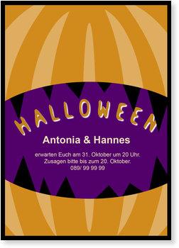 Einladungskarten Halloween , Jack O'Lantern
