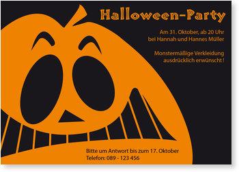 Einladungskarten Halloween , Gruseliges Halloweengesicht