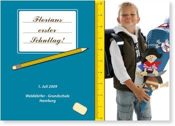 Einladungskarten Einschulung, Schulheft Blau