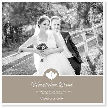 Dankeskarten Hochzeit, Herzpärchen