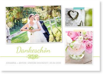 Dankeskarten Hochzeit, Rosenblüte