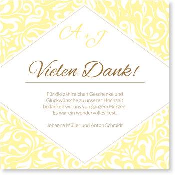 Dankeskarten Hochzeit, Zarte Ranken