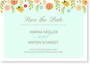 Save the Date Karten, Bunte Blüten in Blau
