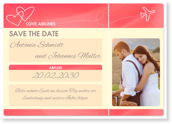 Save the Date Karten, Flugticket