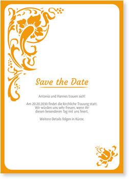 Save the Date Karten, Folklore in Orange