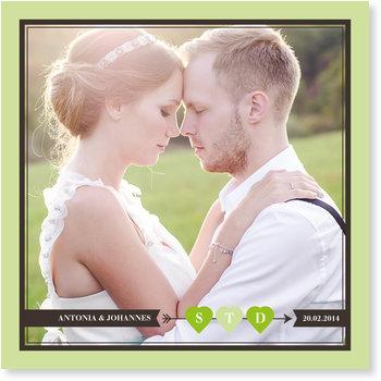 Save the Date Karten, Hochzeitsherzchen in Grün
