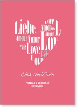 Save the Date Karten, Herz aus Liebe