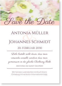 Save the Date Karten, Aquarellblumen